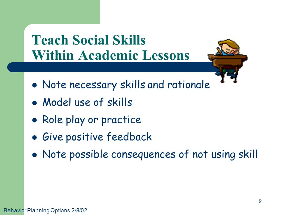 Behavior Planning Options 2/8/02 9 Teach Social Skills Within Academic Lessons Note necessary skills and rationale Model use of skills Role play or practice Give positive feedback Note possible consequences of not using skill