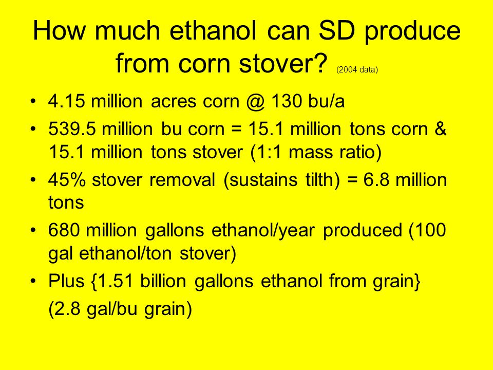 How much ethanol can SD produce from corn stover.