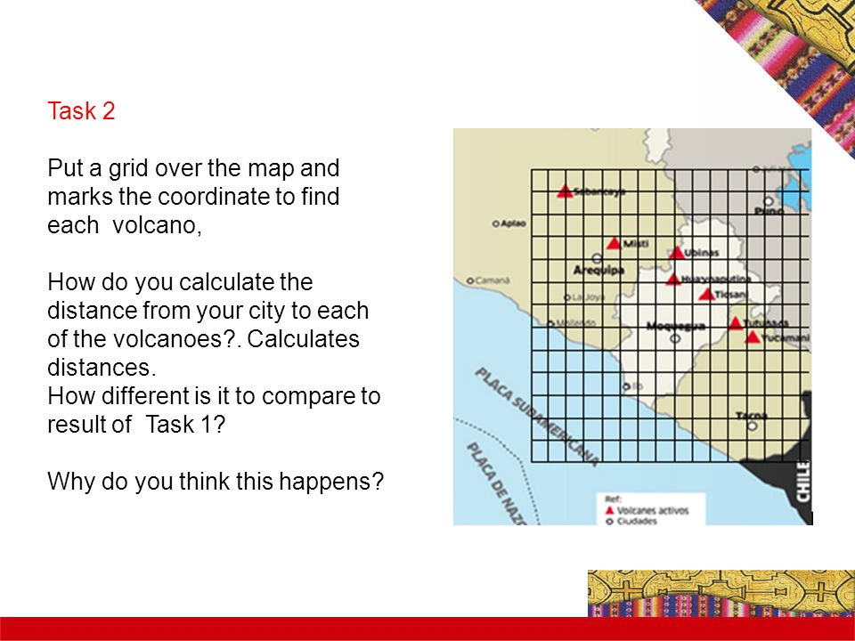 Task 2 Put a grid over the map and marks the coordinate to find each volcano, How do you calculate the distance from your city to each of the volcanoes?.