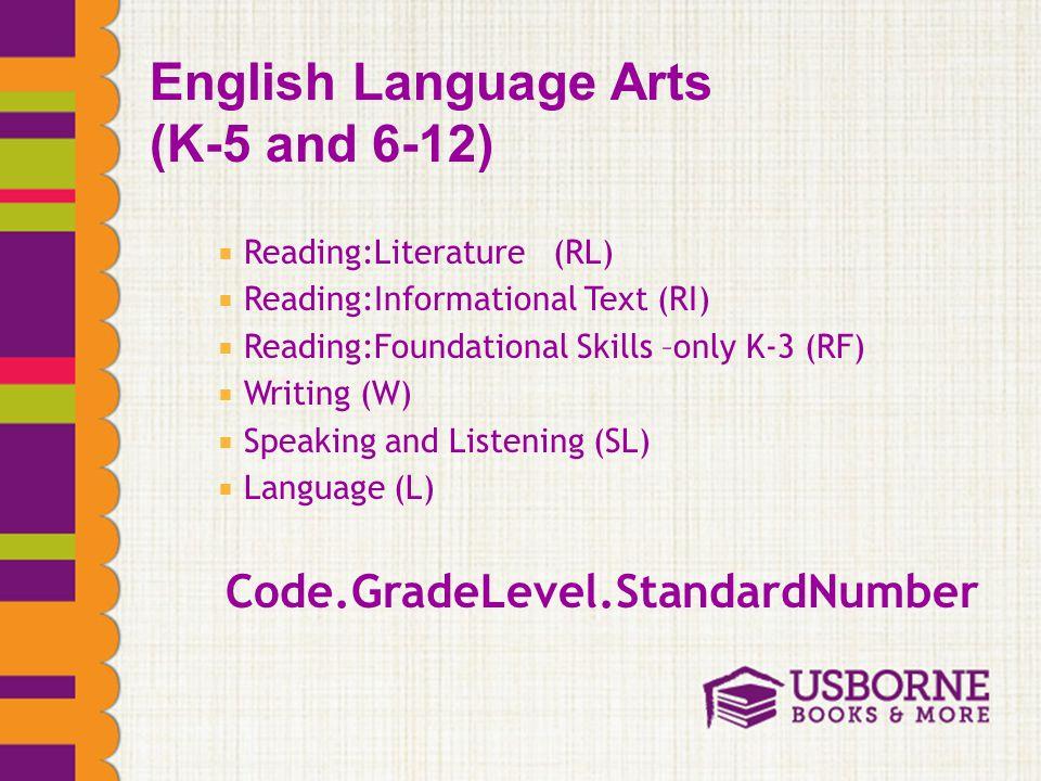  Reading:Literature (RL)  Reading:Informational Text (RI)  Reading:Foundational Skills –only K-3 (RF)  Writing (W)  Speaking and Listening (SL)  Language (L) Code.GradeLevel.StandardNumber English Language Arts (K-5 and 6-12)
