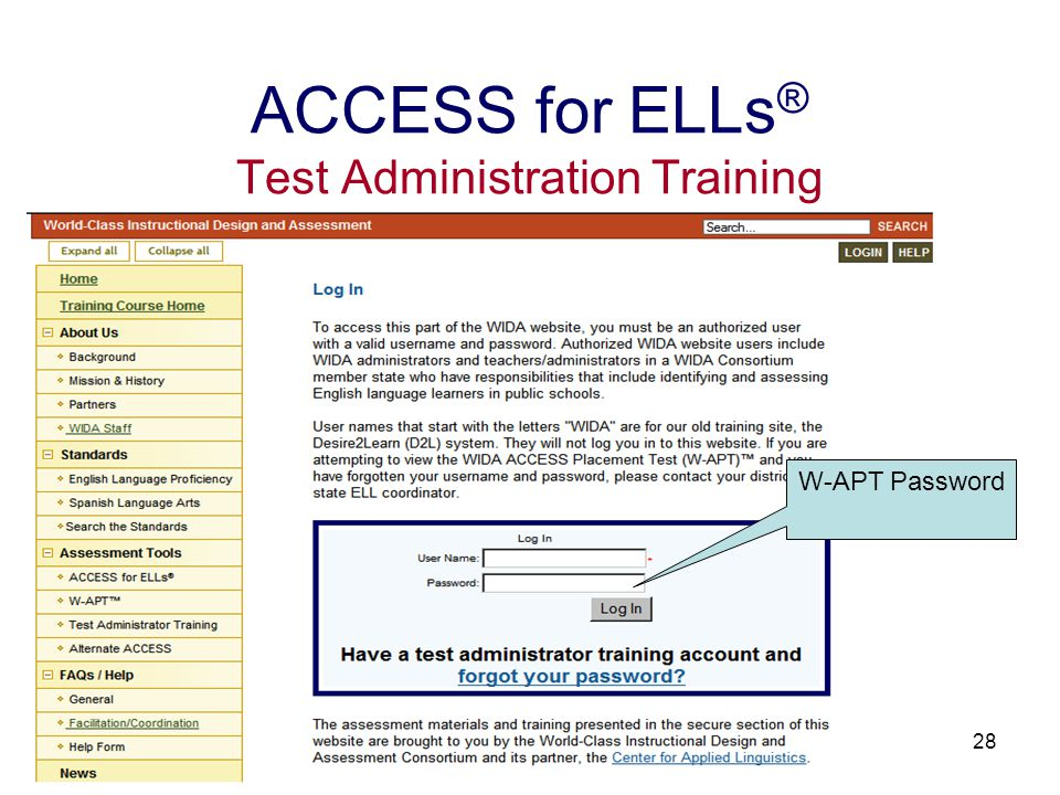 28 ACCESS for ELLs ® Test Administration Training W-APT Password