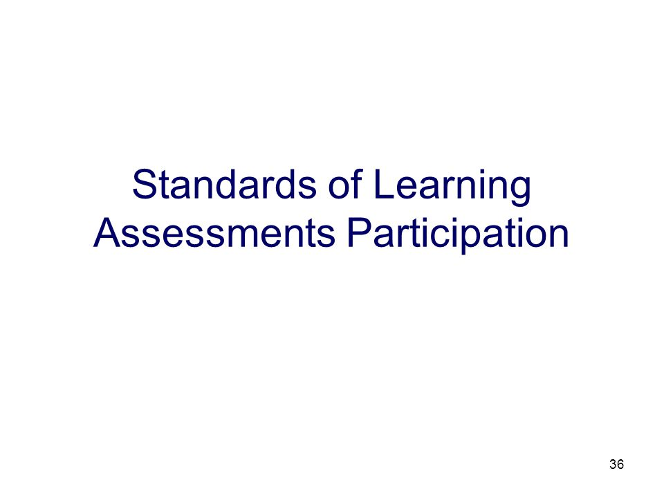 36 Standards of Learning Assessments Participation