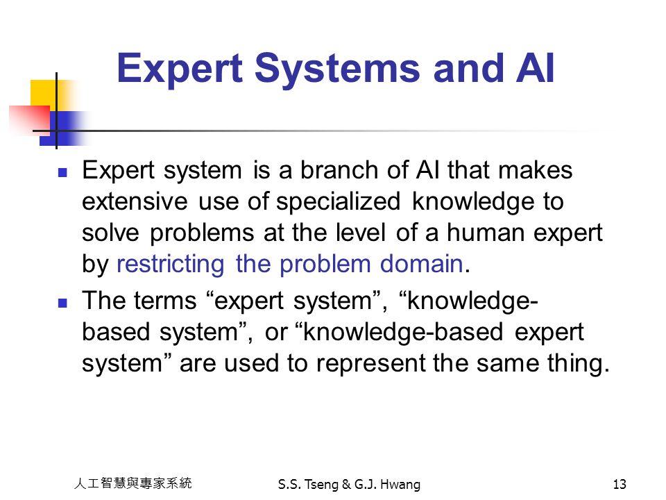 人工智慧與專家系統 S.S. Tseng & G.J. Hwang13 Expert Systems and AI Expert system is a branch of AI that makes extensive use of specialized knowledge to solve p