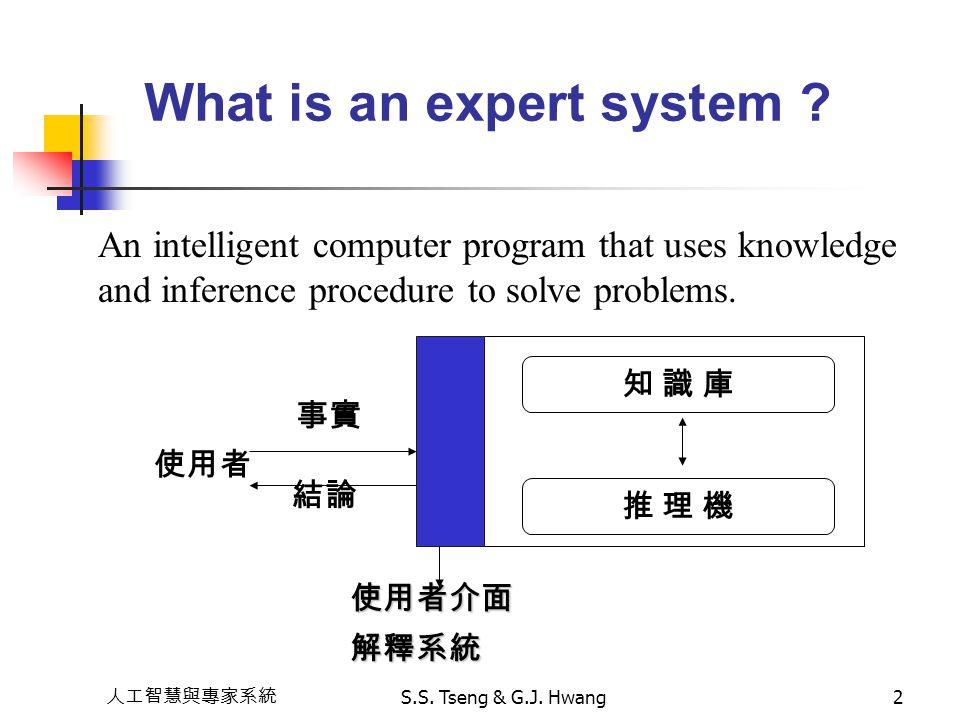 人工智慧與專家系統 S.S. Tseng & G.J. Hwang2 What is an expert system ? An intelligent computer program that uses knowledge and inference procedure to solve pro