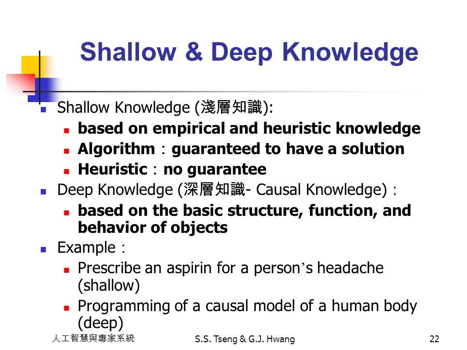 人工智慧與專家系統 S.S. Tseng & G.J. Hwang22 Shallow & Deep Knowledge Shallow Knowledge ( 淺層知識 ): based on empirical and heuristic knowledge Algorithm : guaran