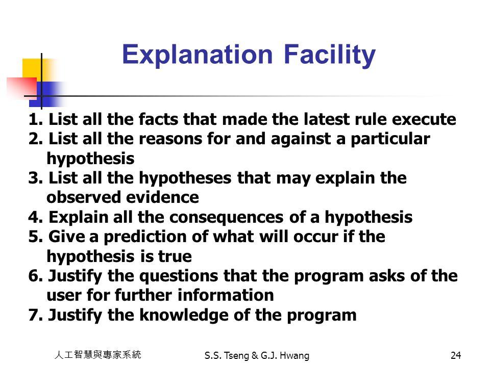 人工智慧與專家系統 S.S. Tseng & G.J. Hwang24 Explanation Facility 1. List all the facts that made the latest rule execute 2. List all the reasons for and again