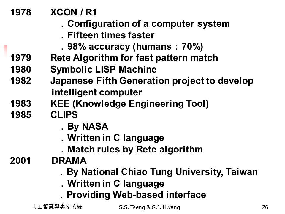 人工智慧與專家系統 S.S. Tseng & G.J. Hwang26 1978 XCON / R1 . Configuration of a computer system . Fifteen times faster . 98% accuracy (humans : 70%) 1979 Rete