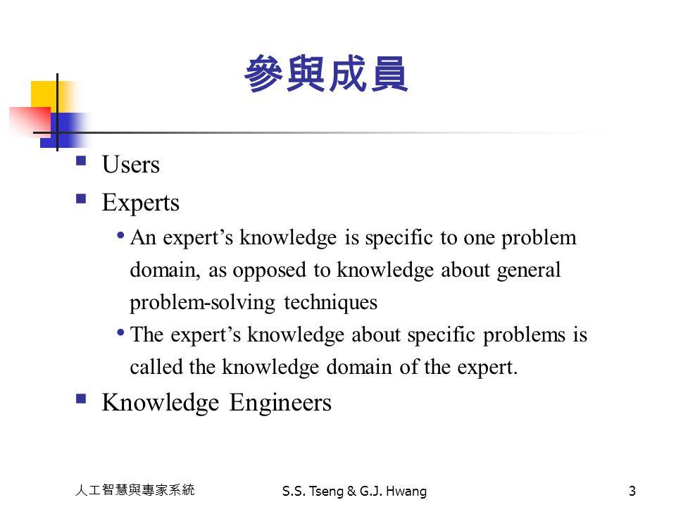 人工智慧與專家系統 S.S. Tseng & G.J. Hwang3 參與成員  Users  Experts An expert's knowledge is specific to one problem domain, as opposed to knowledge about gener