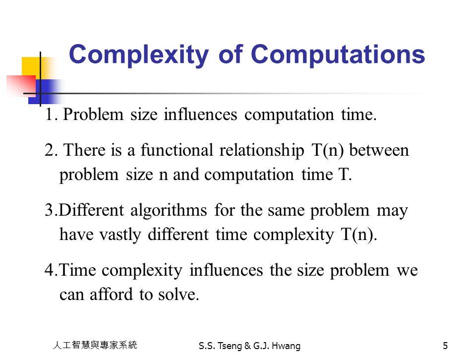 人工智慧與專家系統 S.S. Tseng & G.J. Hwang5 Complexity of Computations 1. Problem size influences computation time. 2. There is a functional relationship T(n)