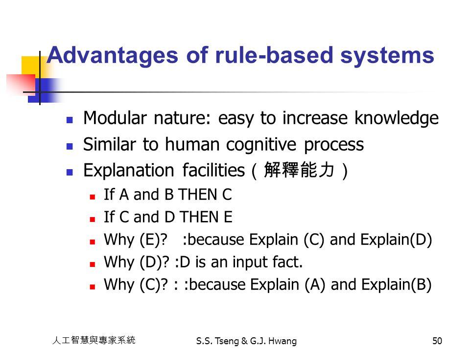 人工智慧與專家系統 S.S. Tseng & G.J. Hwang50 Advantages of rule-based systems Modular nature: easy to increase knowledge Similar to human cognitive process Exp