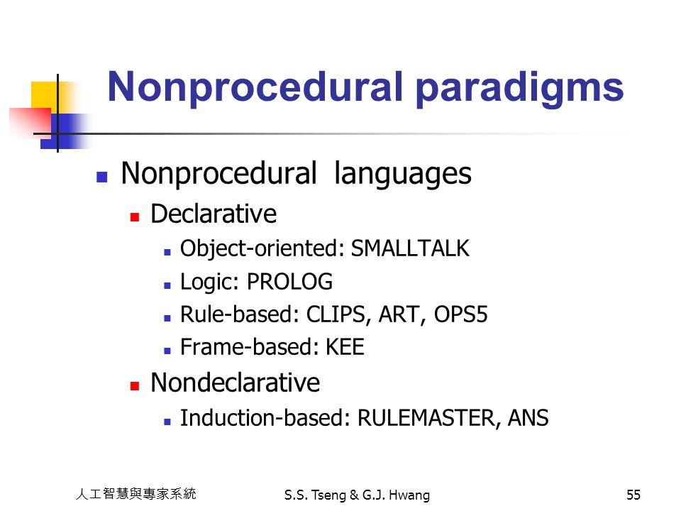 人工智慧與專家系統 S.S. Tseng & G.J. Hwang55 Nonprocedural paradigms Nonprocedural languages Declarative Object-oriented: SMALLTALK Logic: PROLOG Rule-based: C