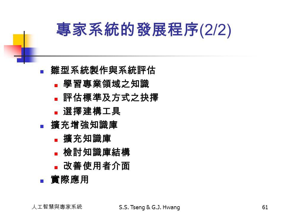 人工智慧與專家系統 S.S. Tseng & G.J. Hwang61 雛型系統製作與系統評估 學習專業領域之知識 評估標準及方式之抉擇 選擇建構工具 擴充增強知識庫 擴充知識庫 檢討知識庫結構 改善使用者介面 實際應用 專家系統的發展程序 (2/2)