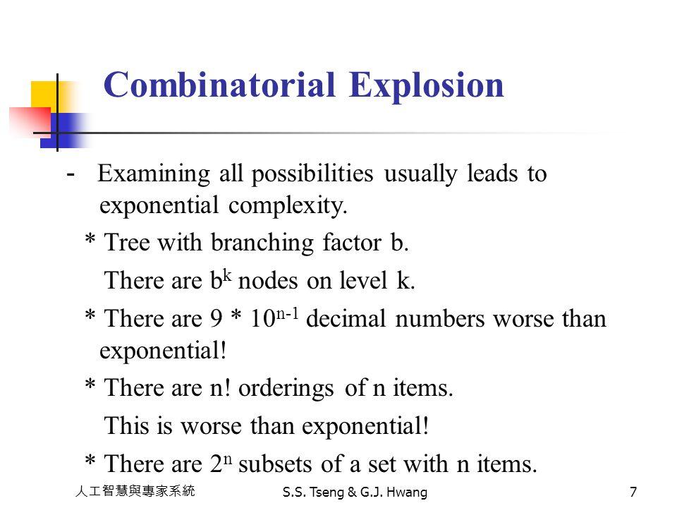 人工智慧與專家系統 S.S. Tseng & G.J. Hwang7 Combinatorial Explosion - Examining all possibilities usually leads to exponential complexity. * Tree with branchin
