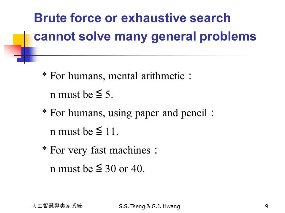 人工智慧與專家系統 S.S. Tseng & G.J. Hwang9 Brute force or exhaustive search cannot solve many general problems * For humans, mental arithmetic : n must be ≦ 5