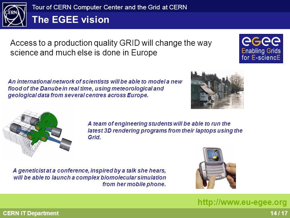CERN IT Department14 / 17 Tour of CERN Computer Center and the Grid at CERN Access to a production quality GRID will change the way science and much e