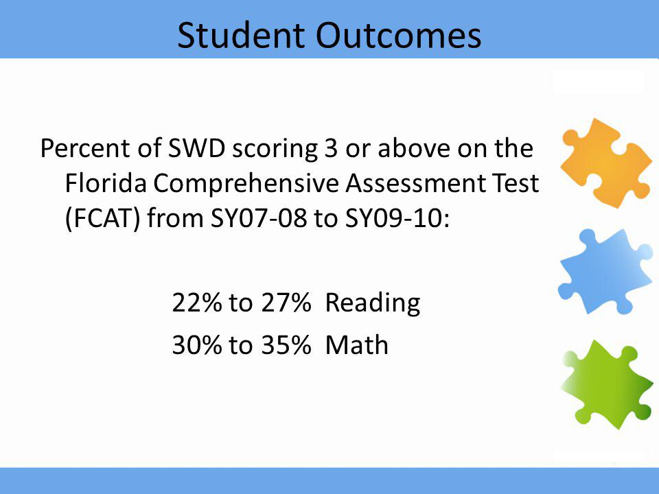 Student Outcomes Percent of SWD scoring 3 or above on the Florida Comprehensive Assessment Test (FCAT) from SY07-08 to SY09-10: 22% to 27% Reading 30% to 35% Math