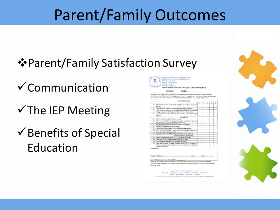 Parent/Family Outcomes  Parent/Family Satisfaction Survey Communication The IEP Meeting Benefits of Special Education