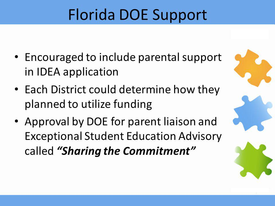 Florida DOE Support Encouraged to include parental support in IDEA application Each District could determine how they planned to utilize funding Approval by DOE for parent liaison and Exceptional Student Education Advisory called Sharing the Commitment