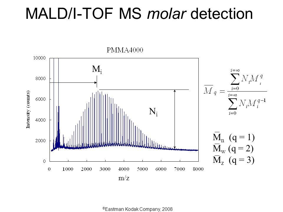 © Eastman Kodak Company, 2008 NiNi MiMi MALD/I-TOF MS molar detection M n (q = 1) M w (q = 2) M z (q = 3) m/z