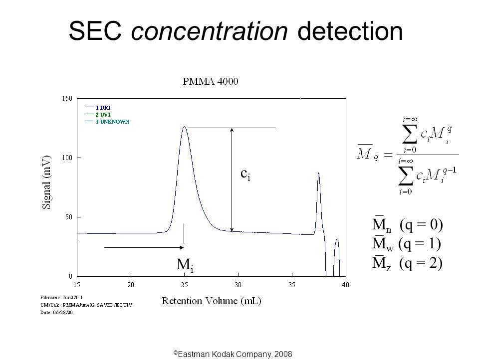 © Eastman Kodak Company, 2008 SEC concentration detection cici MiMi M n (q = 0) M w (q = 1) M z (q = 2)