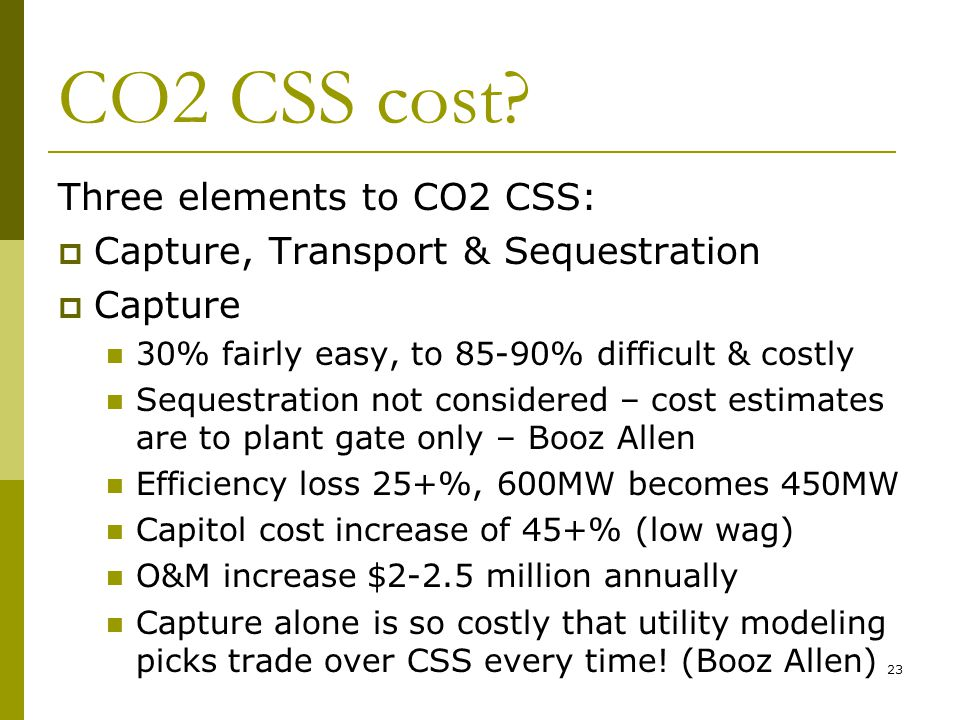 23 CO2 CSS cost.
