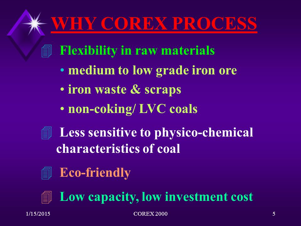 1/15/2015COREX 20005 WHY COREX PROCESS 4 Flexibility in raw materials medium to low grade iron ore iron waste & scraps non-coking/ LVC coals 4 Less se
