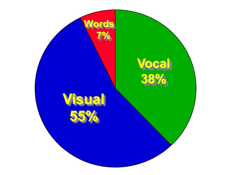 Words 7% 7%Words Vocal38%Vocal38% Visual55%Visual55%