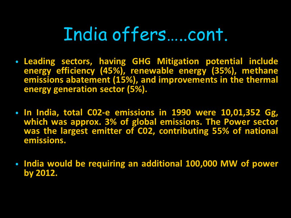 India offers vast untapped market for Carbon Trading India today manufactures >25 million tons of steel. Installed capacity of electrical power genera