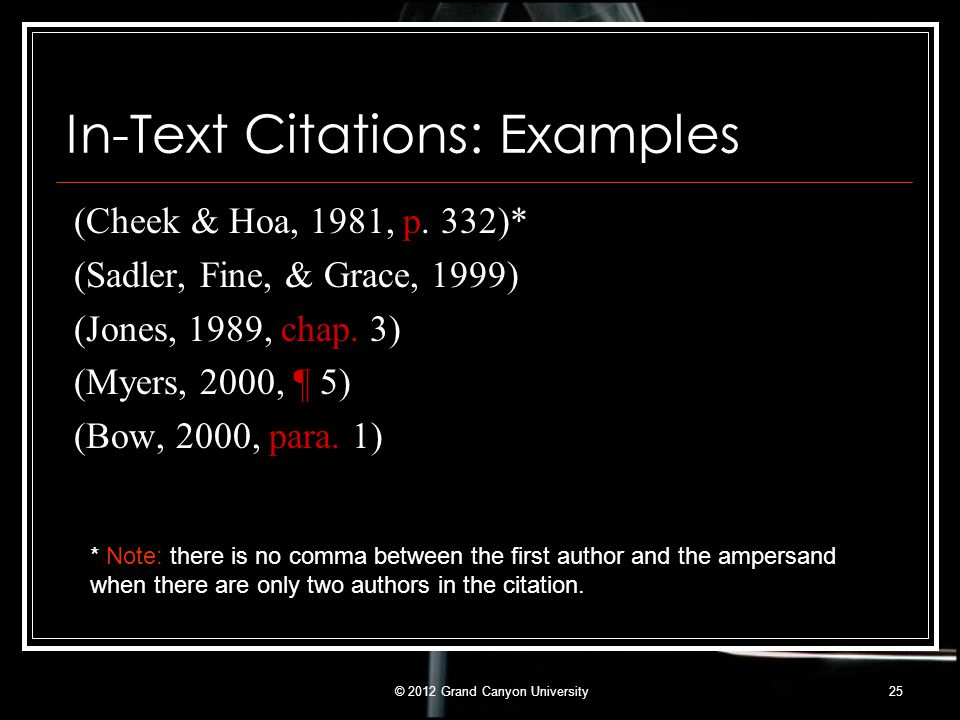 In-Text Citations: Examples (Cheek & Hoa, 1981, p. 332)* (Sadler, Fine, & Grace, 1999) (Jones, 1989, chap. 3) (Myers, 2000, ¶ 5) (Bow, 2000, para. 1)