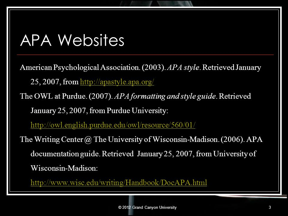 APA Websites American Psychological Association. (2003). APA style. Retrieved January 25, 2007, from http://apastyle.apa.org/http://apastyle.apa.org/
