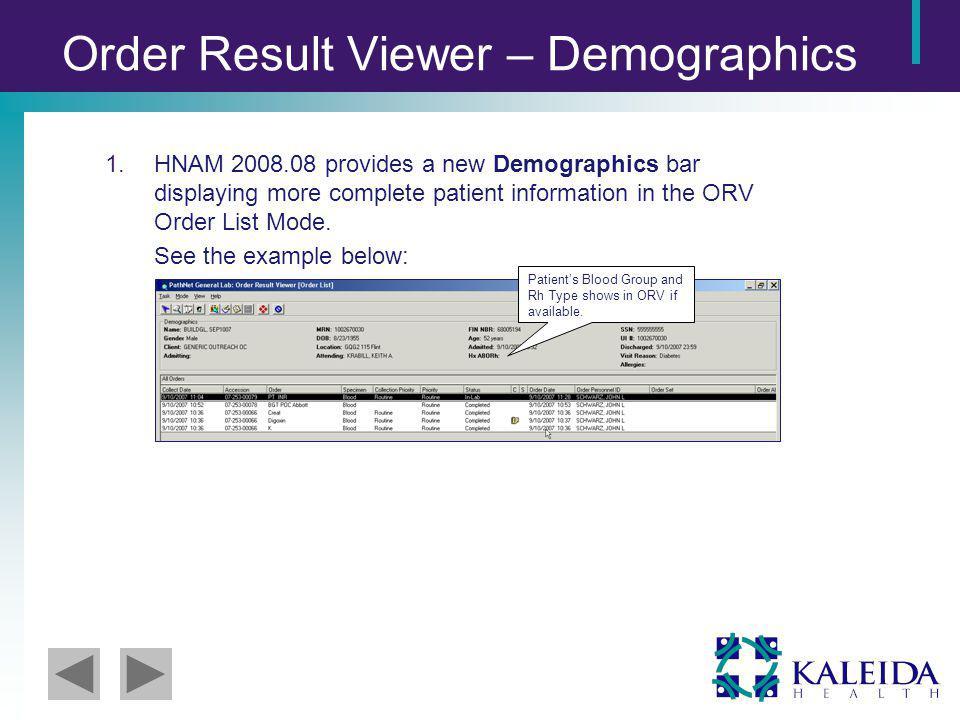 Order Result Viewer – Demographics 1.