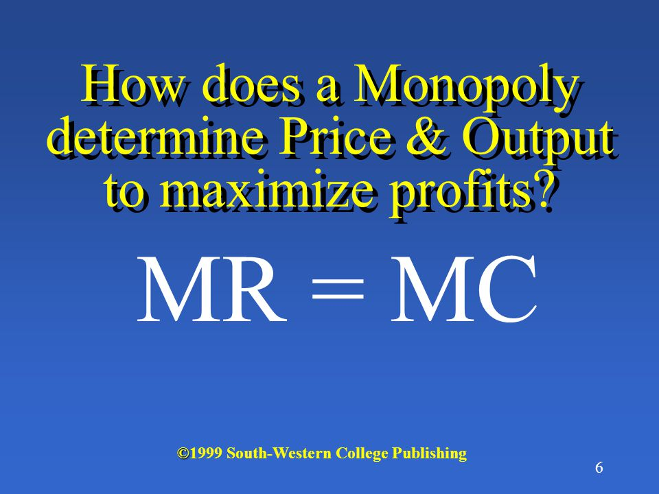 6 How does a Monopoly determine Price & Output to maximize profits.