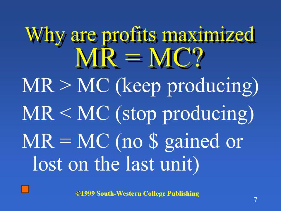 7 Why are profits maximized MR = MC.