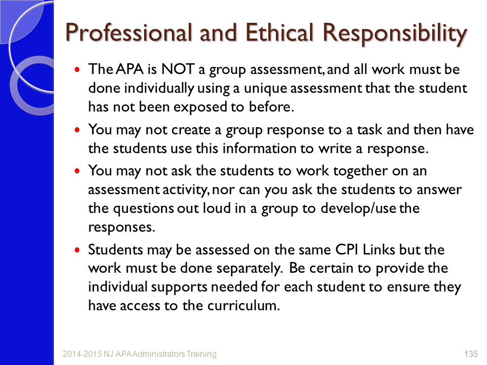 Professional and Ethical Responsibility The APA is NOT a group assessment, and all work must be done individually using a unique assessment that the student has not been exposed to before.