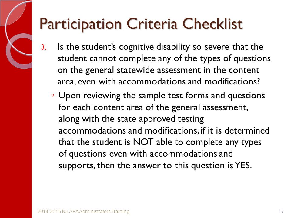 Participation Criteria Checklist 3.