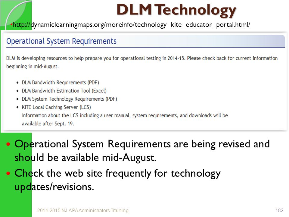 DLM Technology Operational System Requirements are being revised and should be available mid-August.