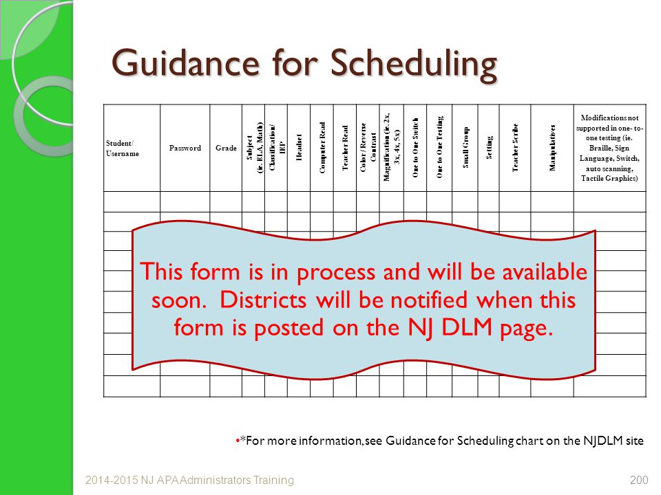Guidance for Scheduling Student/ Username PasswordGrade Subject (ie.