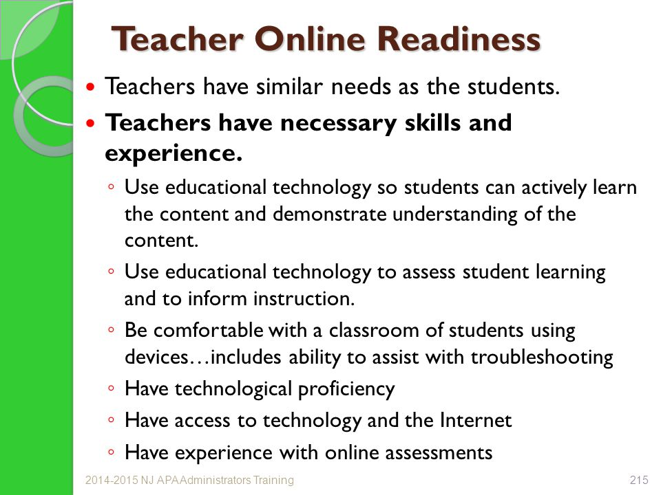Teacher Online Readiness Teachers have similar needs as the students.