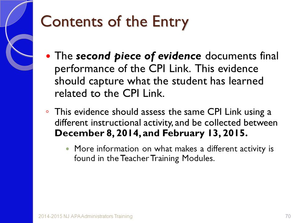 The second piece of evidence documents final performance of the CPI Link.