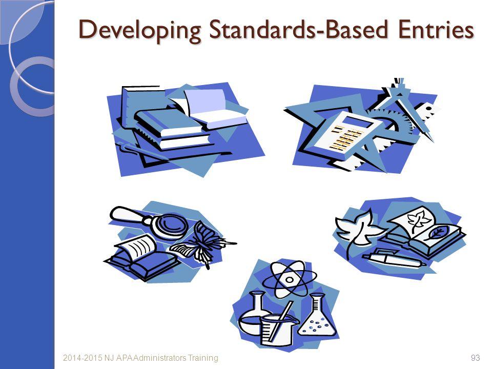 932014-2015 NJ APA Administrators Training Developing Standards-Based Entries