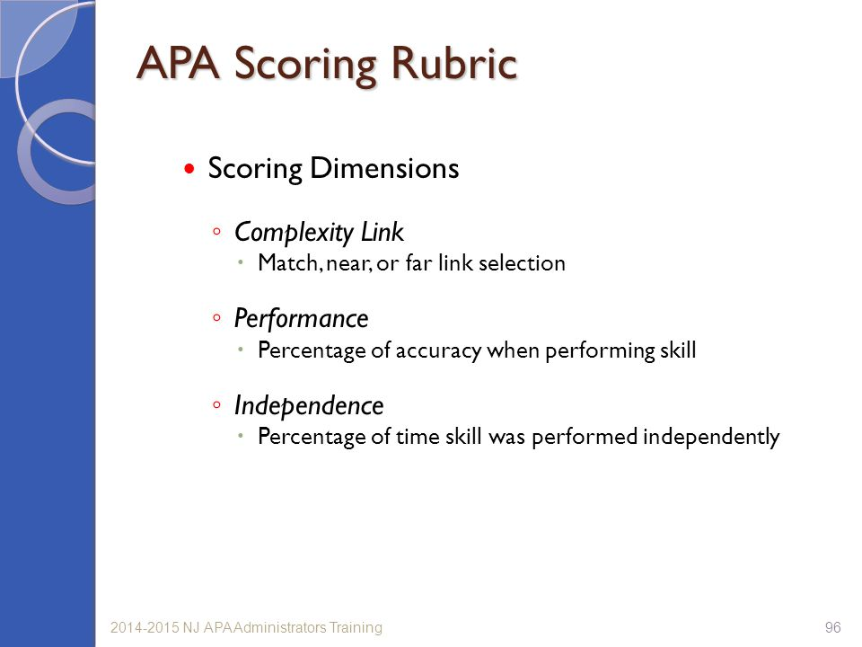 962014-2015 NJ APA Administrators Training APA Scoring Rubric Scoring Dimensions ◦ Complexity Link  Match, near, or far link selection ◦ Performance  Percentage of accuracy when performing skill ◦ Independence  Percentage of time skill was performed independently
