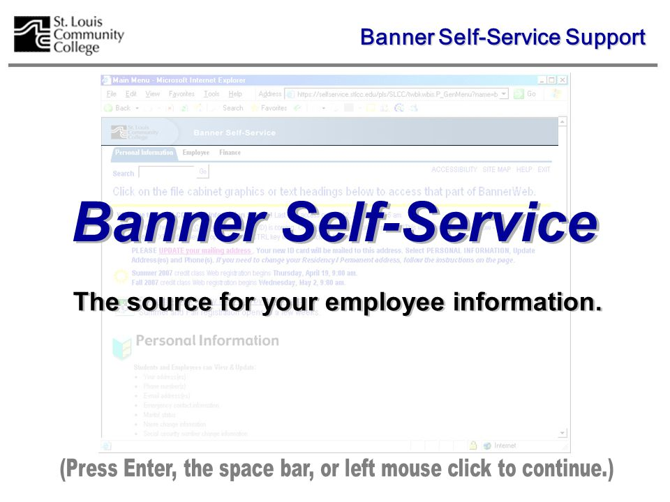 Click on the Name Change Information and Social Security Number Change Information options to display instructions for changing the information in Banner.