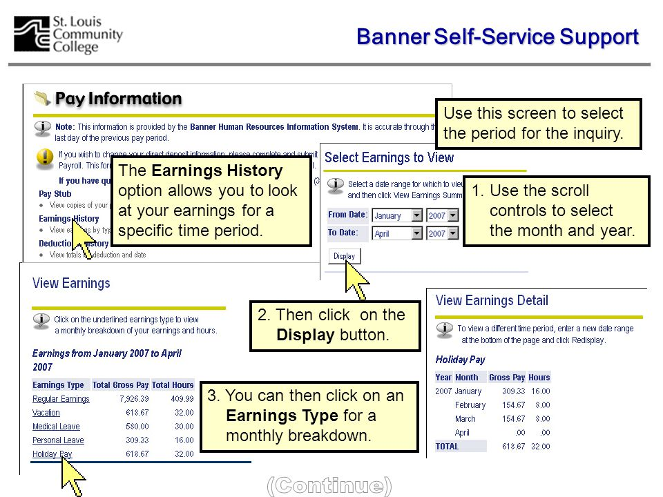 The Pay Stub Summary screen displays pay period dates and pay amounts for all payrolls during the year selected.