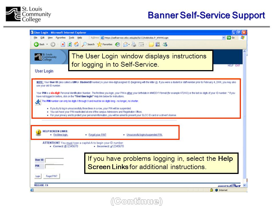 The User Login window displays instructions for logging in to Self-Service.