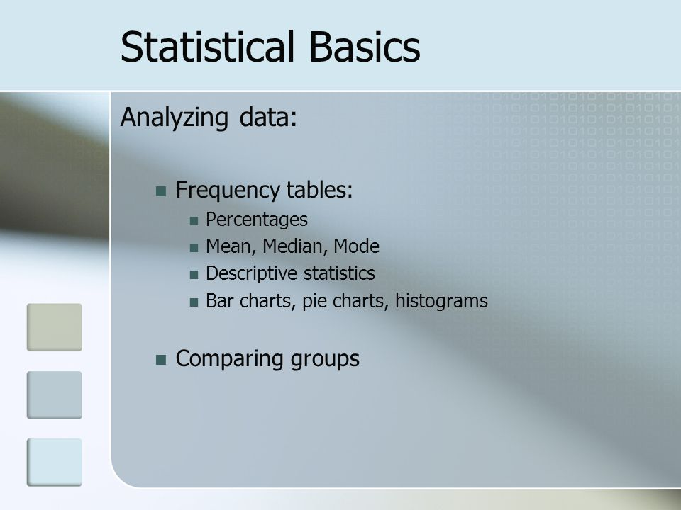 Statistical Basics Analyzing data: Frequency tables: Percentages Mean, Median, Mode Descriptive statistics Bar charts, pie charts, histograms Comparing groups