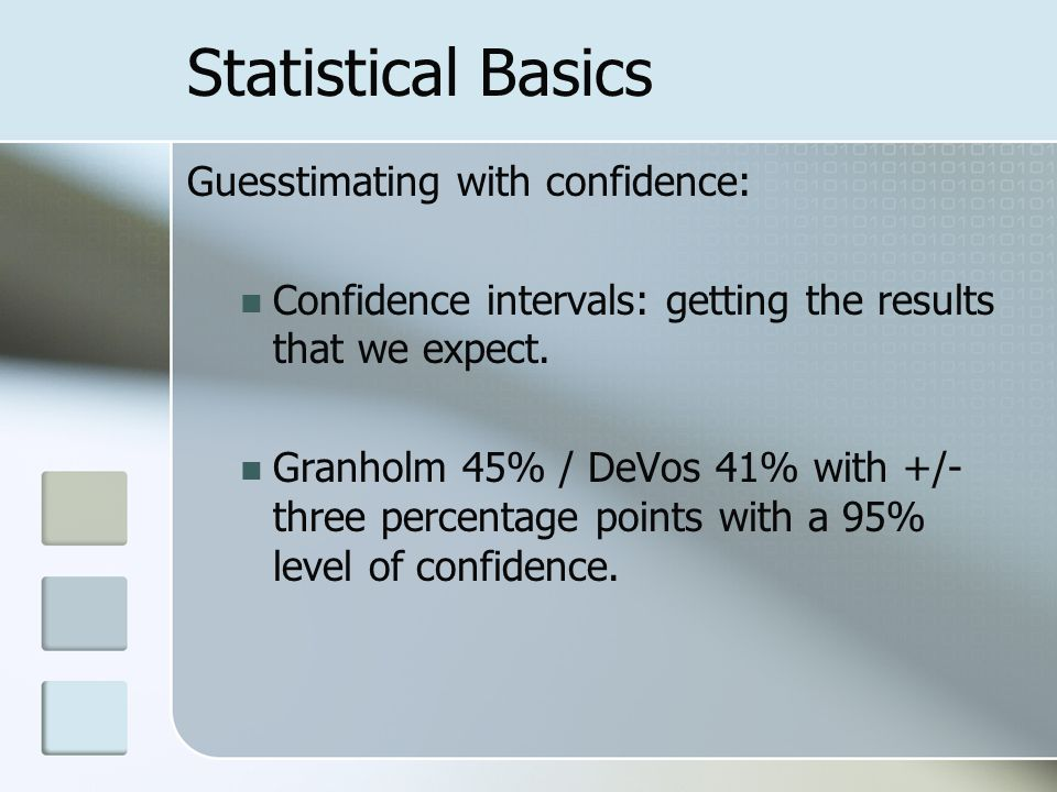 Statistical Basics Guesstimating with confidence: Confidence intervals: getting the results that we expect.