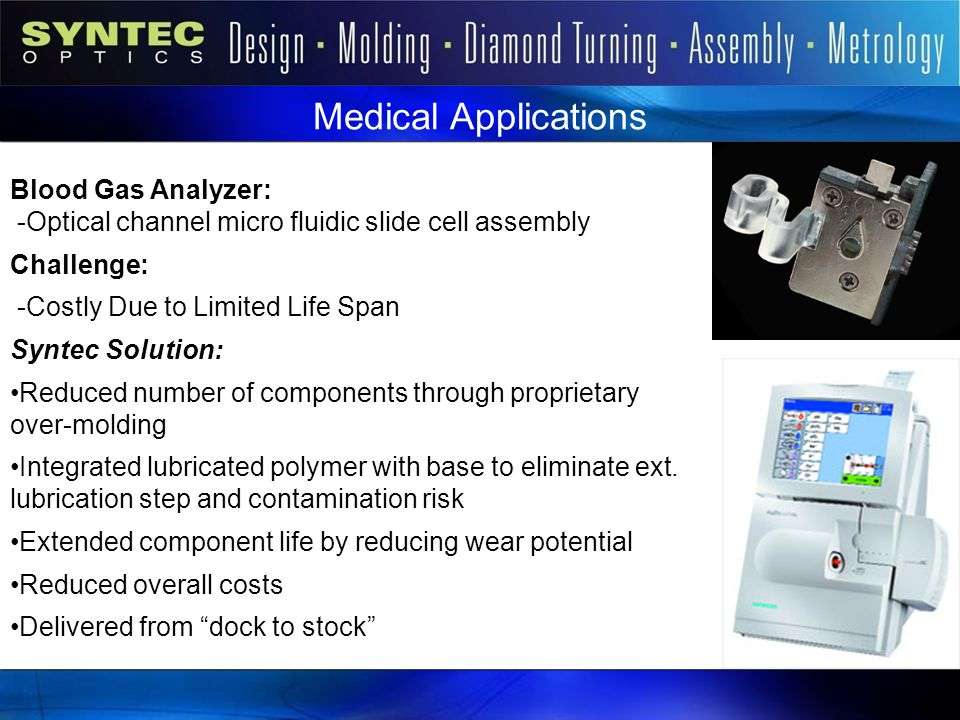 Medical Applications Blood Gas Analyzer: -Optical channel micro fluidic slide cell assembly Challenge: -Costly Due to Limited Life Span Syntec Solutio