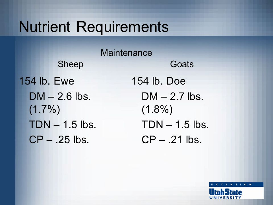 Nutrient Requirements 154 lb. Ewe DM – 2.6 lbs. (1.7%) TDN – 1.5 lbs.