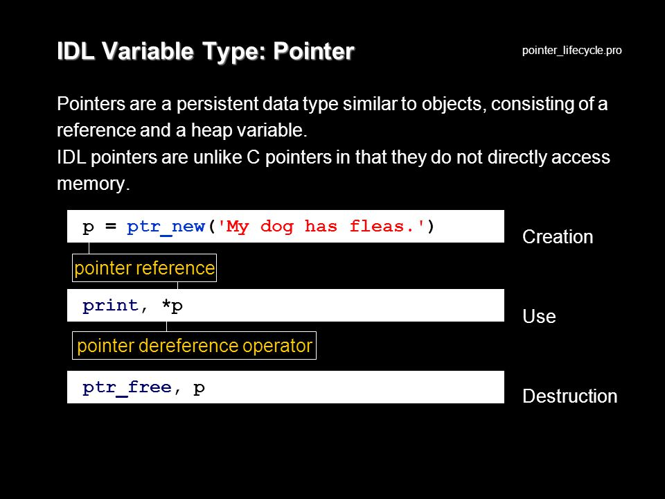 IDL Variable Type: Pointer Pointers are a persistent data type similar to objects, consisting of a reference and a heap variable.