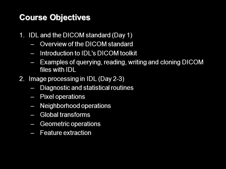 Course Objectives 1.